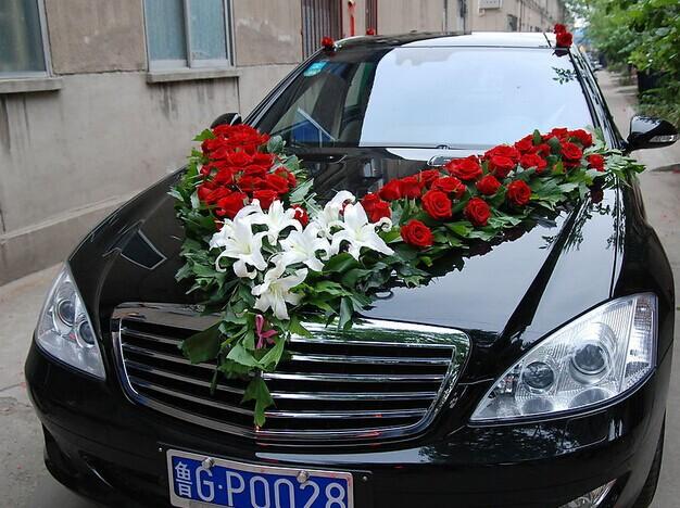 婚车丝带花步骤